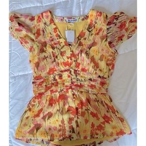 Walter Baker Short sleeve floral yellow ziva top